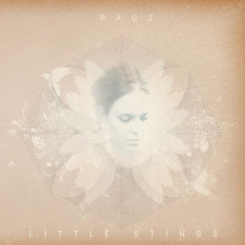 Cover of Ragz Nordset's 'Little Stings'. Faint picture of Ragz face over a sepia/pink flower and geometric print
